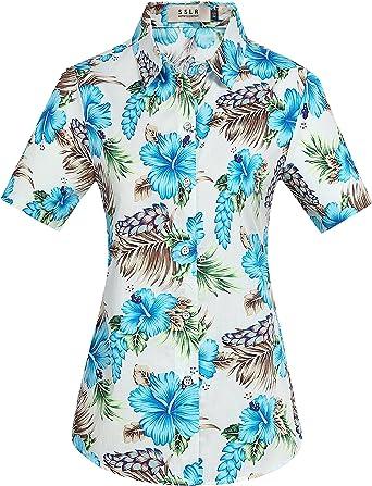 SSLR Camisa Manga Corta de Algodón Estampado de Flores Informal Estilo Hawaiano de Mujer: Amazon.es: Ropa y accesorios