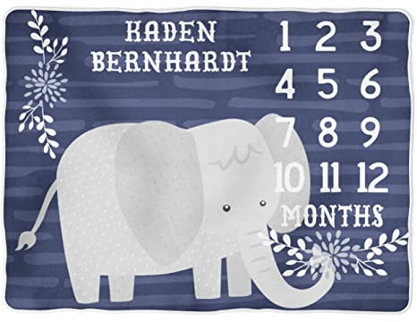 Sobilar Personalized Elephant Milestone Blanket Monthly Growth Tracker Photo Prop Baby Boy Shower Gift