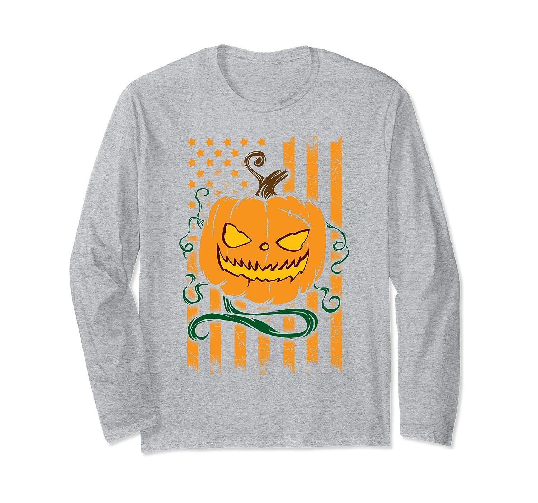 American Flag Pumpkin Halloween Party Long Sleeve T-shirt-mt