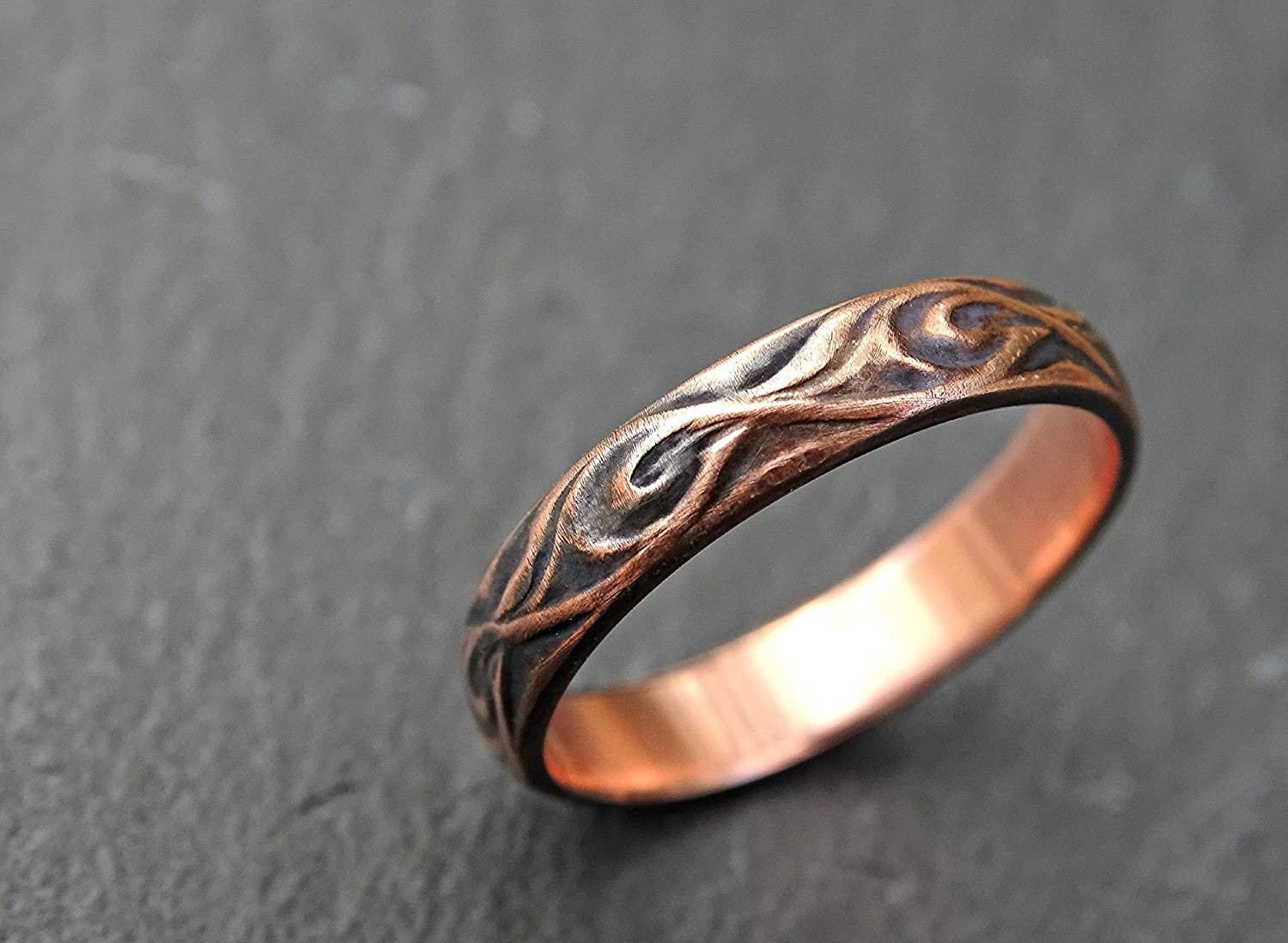 Amazon Com Textured Copper Ring Copper Wedding Band Commitment