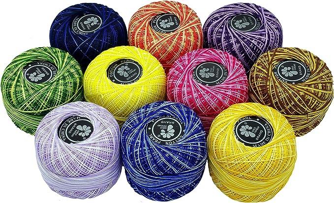 Cotton Pearl 10 ovillos de hilo de 50 g, 100% algodón, 500 g en ...
