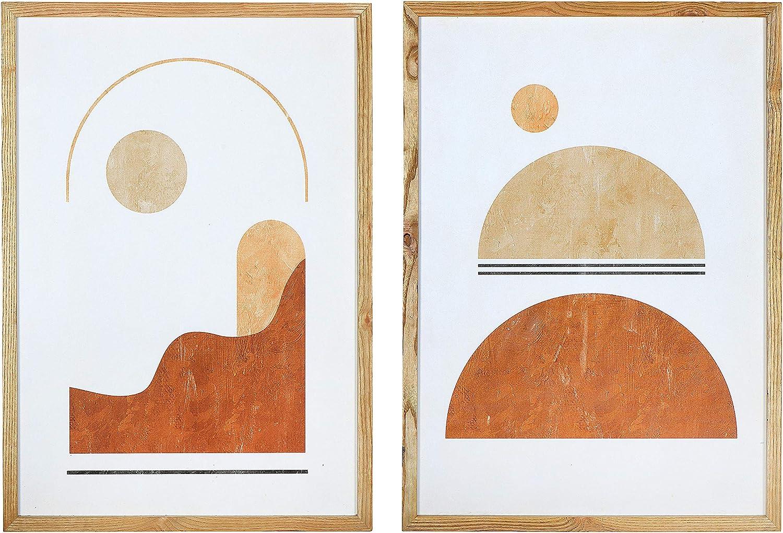 Main + Mesa Wood Framed Handmade Paper Wall Art Décor, Set of 2, 19.75