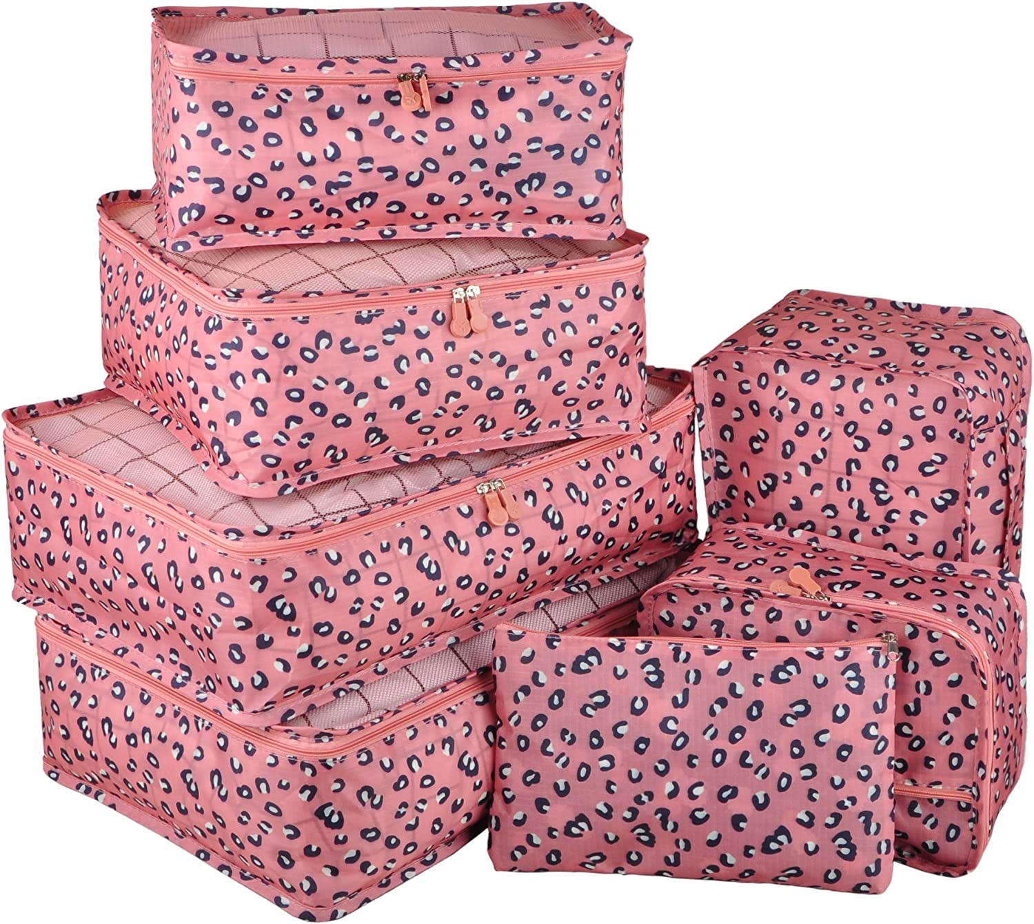 Vercord 7 Set Travel Packing Organizers Cubes Mesh Luggage Cloth Bag Cubes with Bra Underwear Cube and Shoe Pouch, Pink Leopard