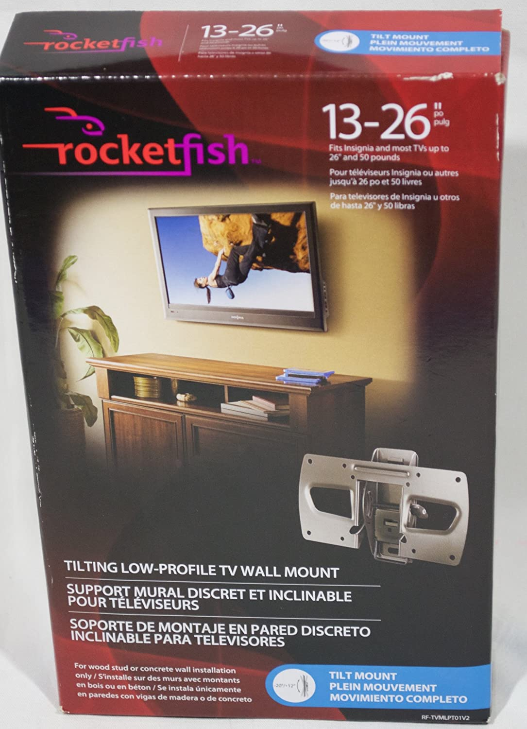 Rocketfish Low-Profile Tilting Wall Mount for Most 13 Inch to 26 Inch Flat-Panel TVs - Black