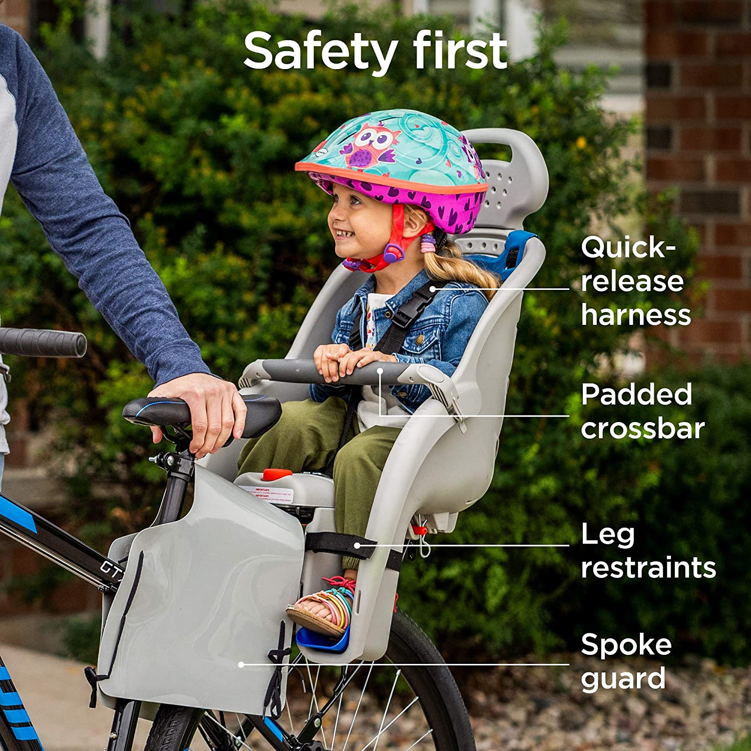 Bicycle Seat For Kids Lightweight Bike Seats For Children Multiple Color Options Comfortable Mounted Child Toddlers Three-point Seat Belt Protection For Under 6 Years Old Boys Girls