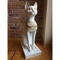 KARO FLIGHT BASTET - Gatto Egiziano con Effetto Oro Bianco, Decorato a Mano