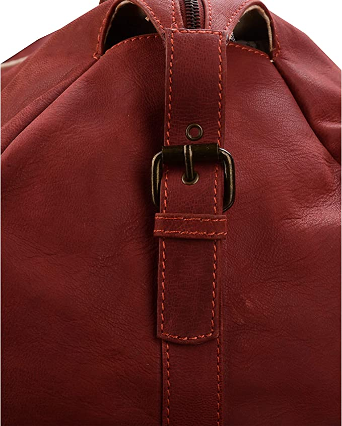 Red MANDAVA Genuine Full Grain Waxy Goat Leather Travel Duffel Bag Luggage Carry On Soft Weekender Overnighter Bag