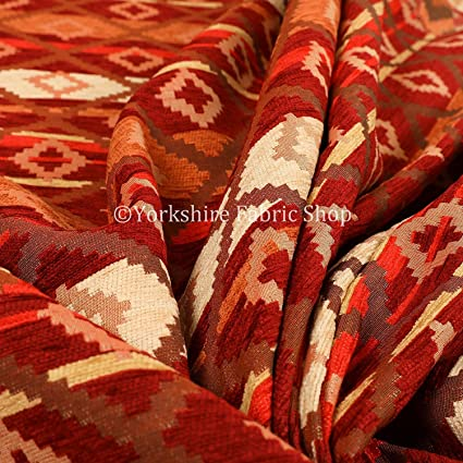 Modern Small Kilim Aztec Pattern Orange Red Chenille Curtain