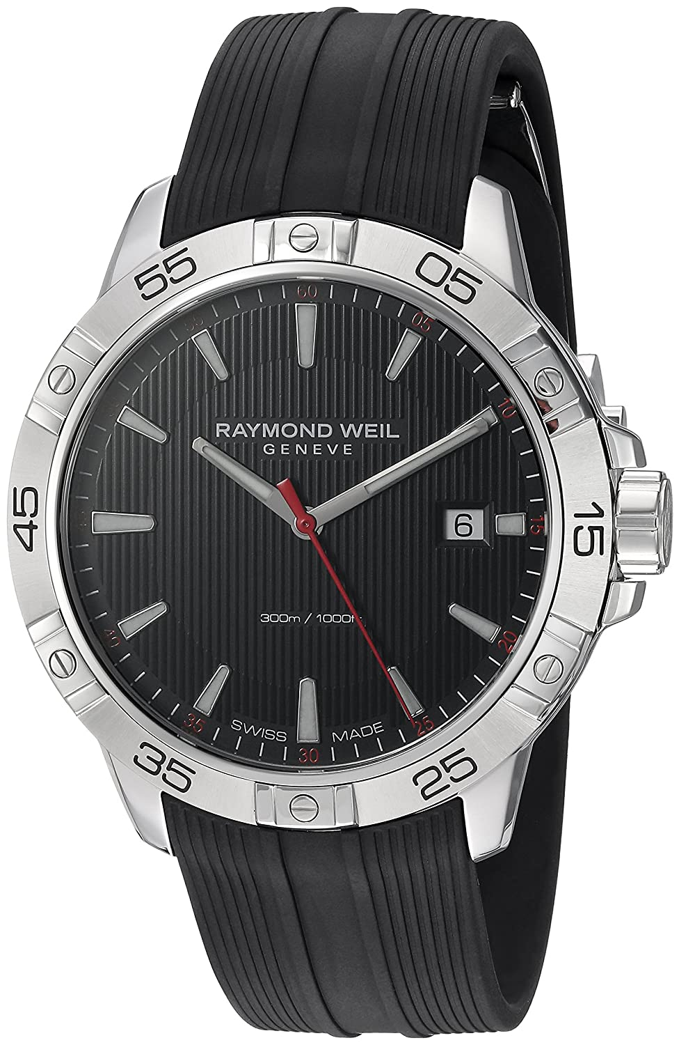 Amazon.com: Raymond Weil Mens Tango Stainless Steel Swiss-Quartz Watch with Rubber Strap, Black, 19 (Model: 8160-SR2-20001: Watches