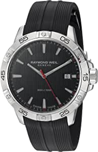 Raymond Weil Men's Tango Stainless Steel Swiss-Quartz Watch with Rubber Strap, Black, 19 (Model: 8160-SR2-20001)