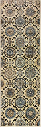 Superior Abner Collection Area Rug, 10mm Pile Height with Jute Backing, Fashionable and Affordable Rugs, Beautiful Scrolling Medallion Pattern – 2 7 x 8 Runner, Cream with Blue and Beige