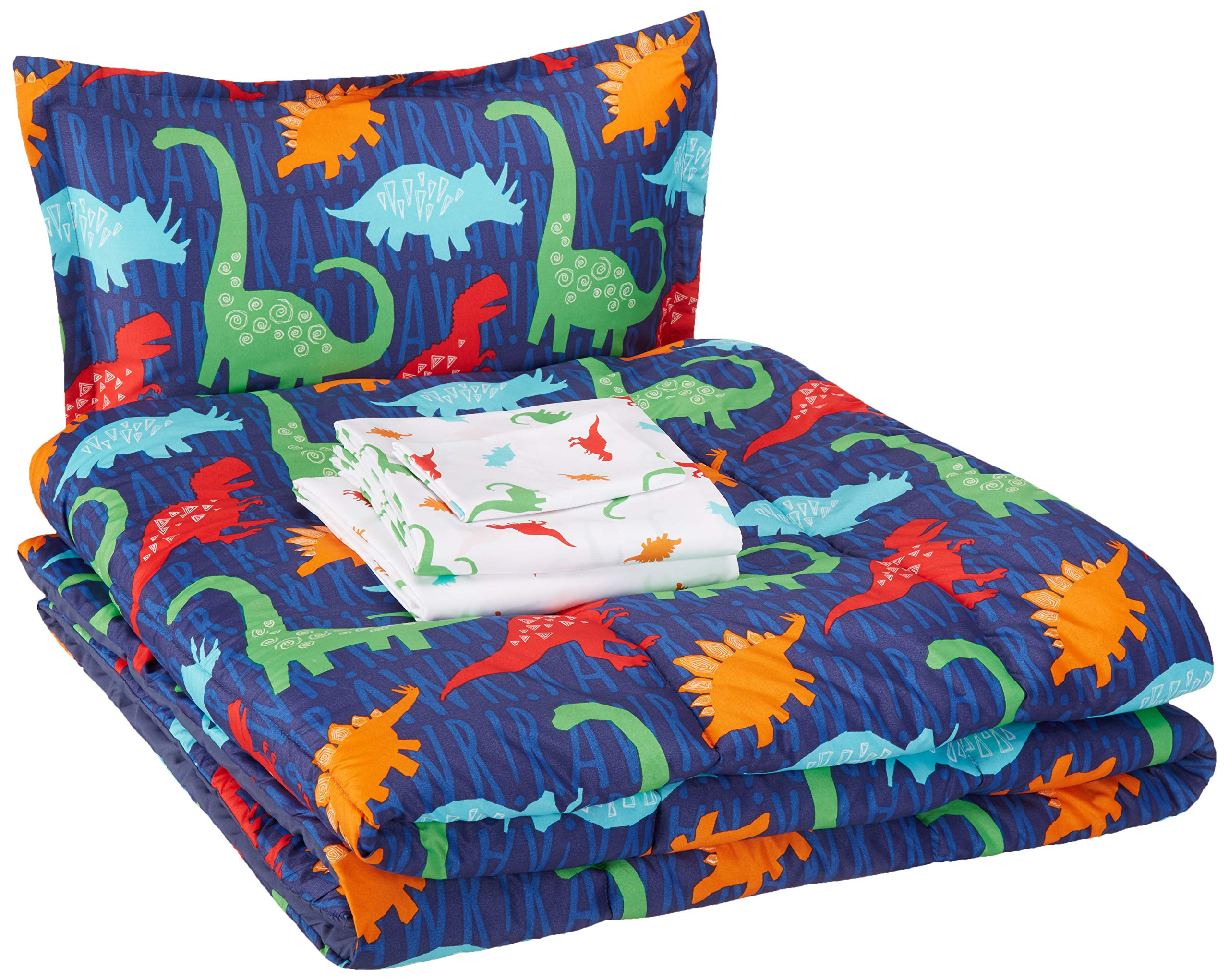 AmazonBasics Easy-Wash Microfiber Kid's Bed-in-a-Bag Bedding Set - Twin, Multi-Color Dinosaurs by AmazonBasics