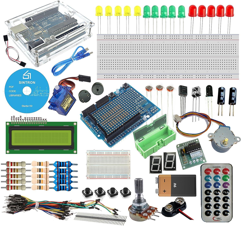 Sintron Arduino Uno R3 Starter Kit - Tutorial CD + Transparent Acrylic Case  LCD Servo Motor Sensor Module etc, for Arduino Beginner Learner
