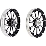 BikenWear 11 Spokes 19-inch Black and Silver Alloy Wheel for Royal Enfield Classic-350 (1 Piece)