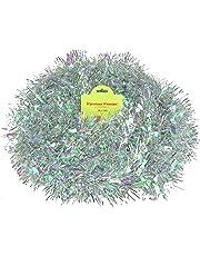Christmas Concepts® 3m / 9.8ft Chunky/Fine Christmas Tinsel - Christmas Decoration Tinsel (Silver & Iridescent)