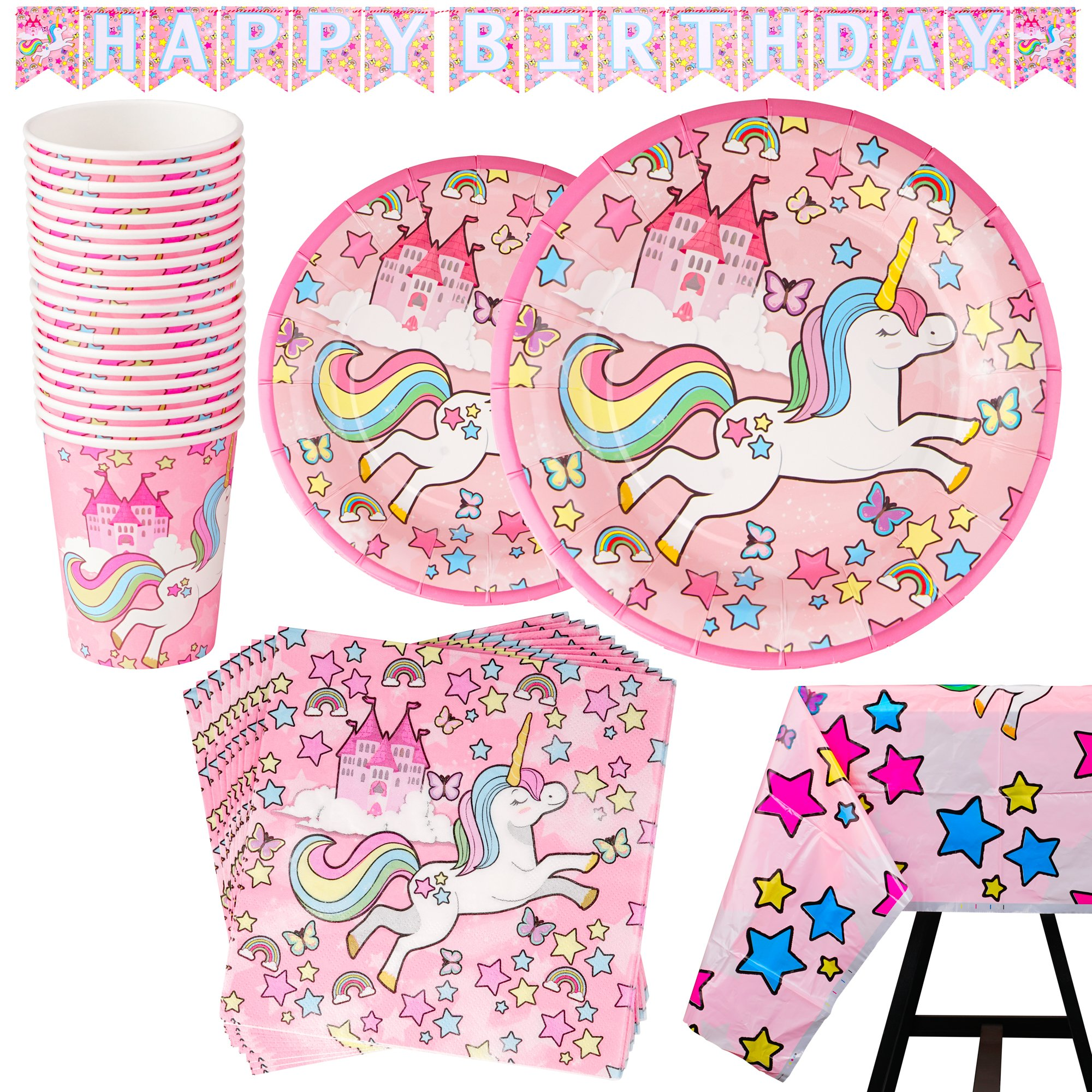 82 Piece Unicorn Party Supplies Set Including Banner, Plates, Cups, Napkins and Tablecloth - Pink Theme, Serves 20 by Scale Rank