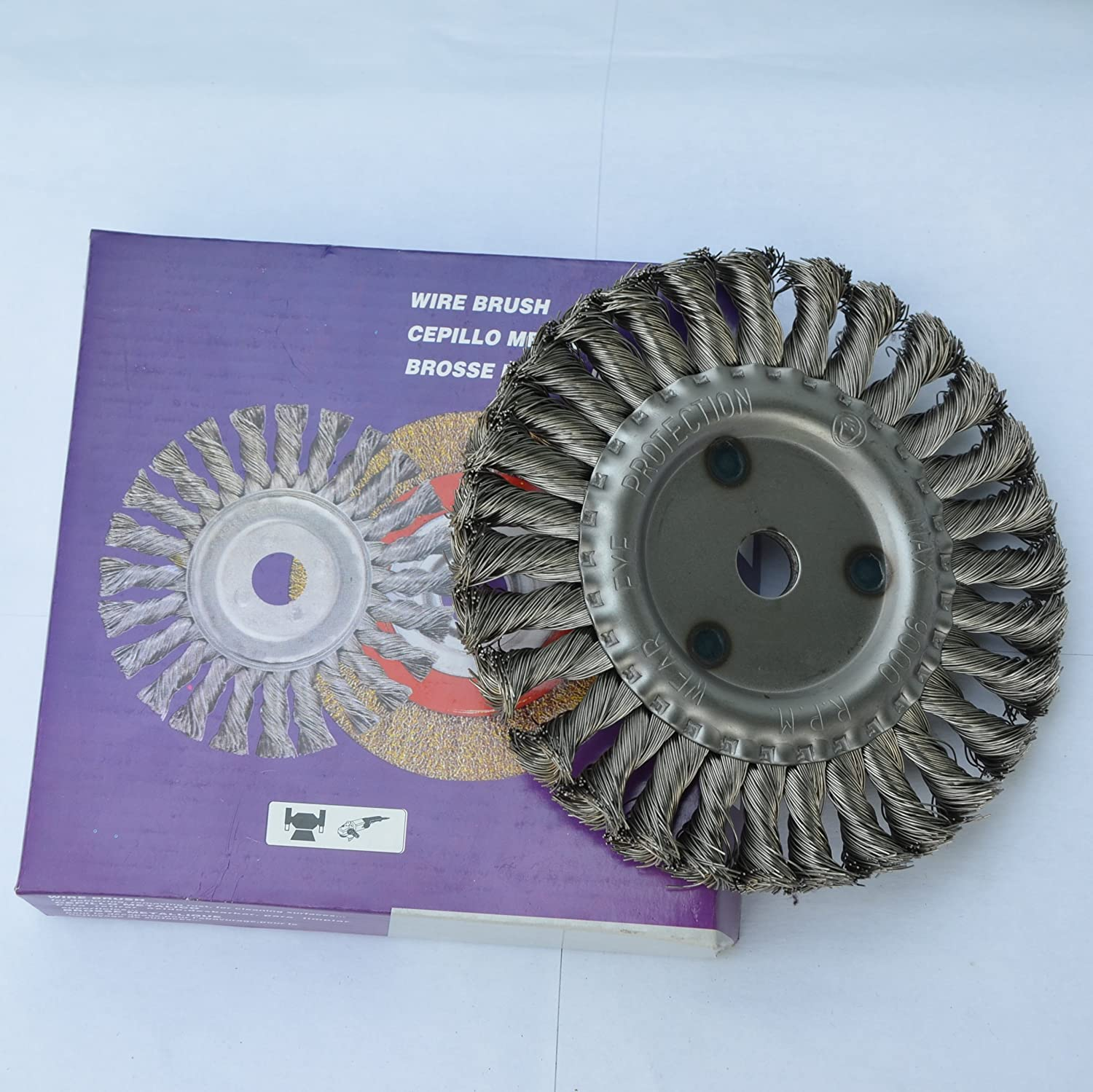 6 inch Knotted Wire Twisted Brush Wheel with 7/8' Arbor for bench grinder
