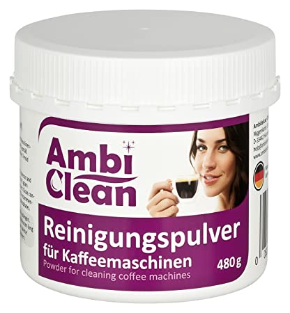 Polvo limpiador para máquinas de café de AmbiClean. Para limpieza profunda, sin olor,