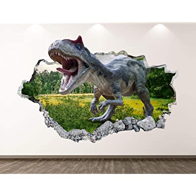 "West Mountain Wild Dinosaur Wall Decal Art Decor 3D Smashed Forest Sticker Poster Kids Room Mural Custom Gift BL367 (30"" W x 18"" H): Home & Kitchen"