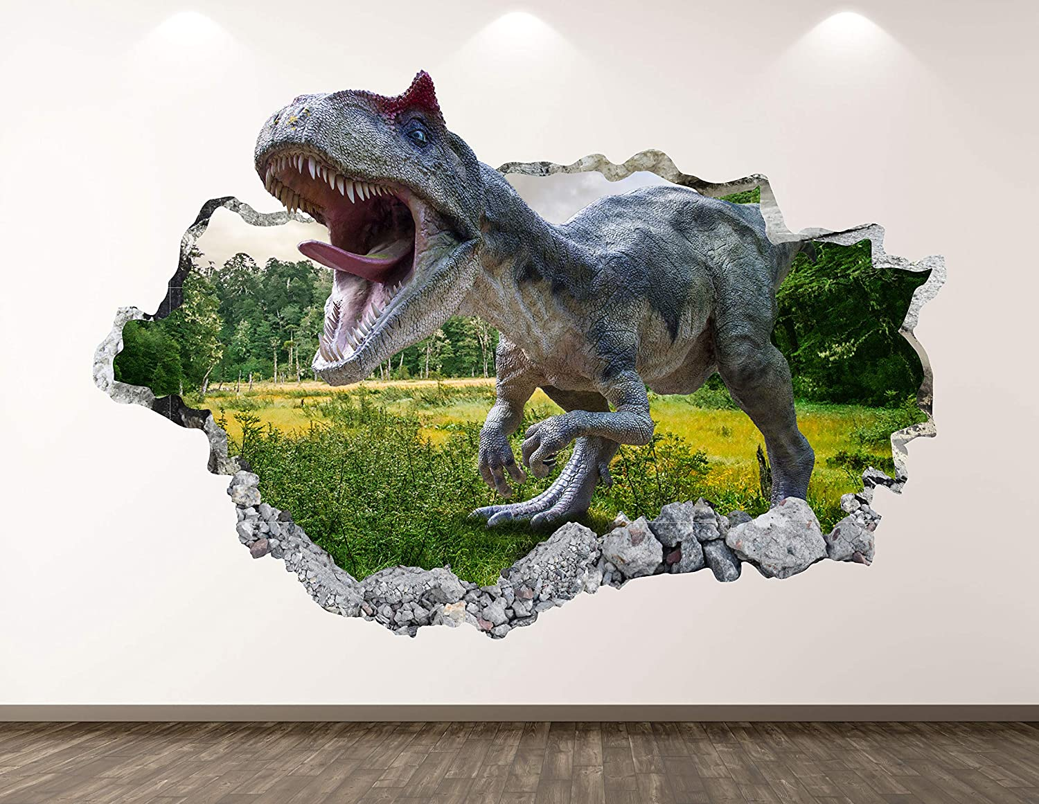 """West Mountain Wild Dinosaur Wall Decal Art Decor 3D Smashed Forest Sticker Poster Kids Room Mural Custom Gift BL367 (50"""" w x 30"""" H)"""
