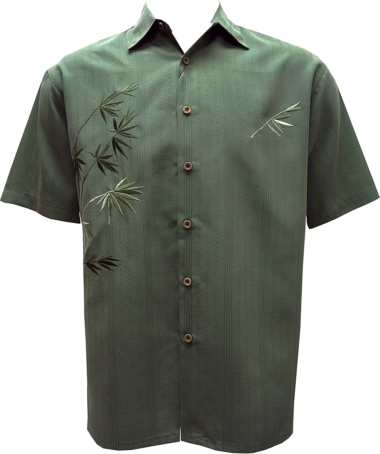 Bamboo Cay Mens Short Sleeve Flying Bamboos Casual Embroidered Woven Shirt