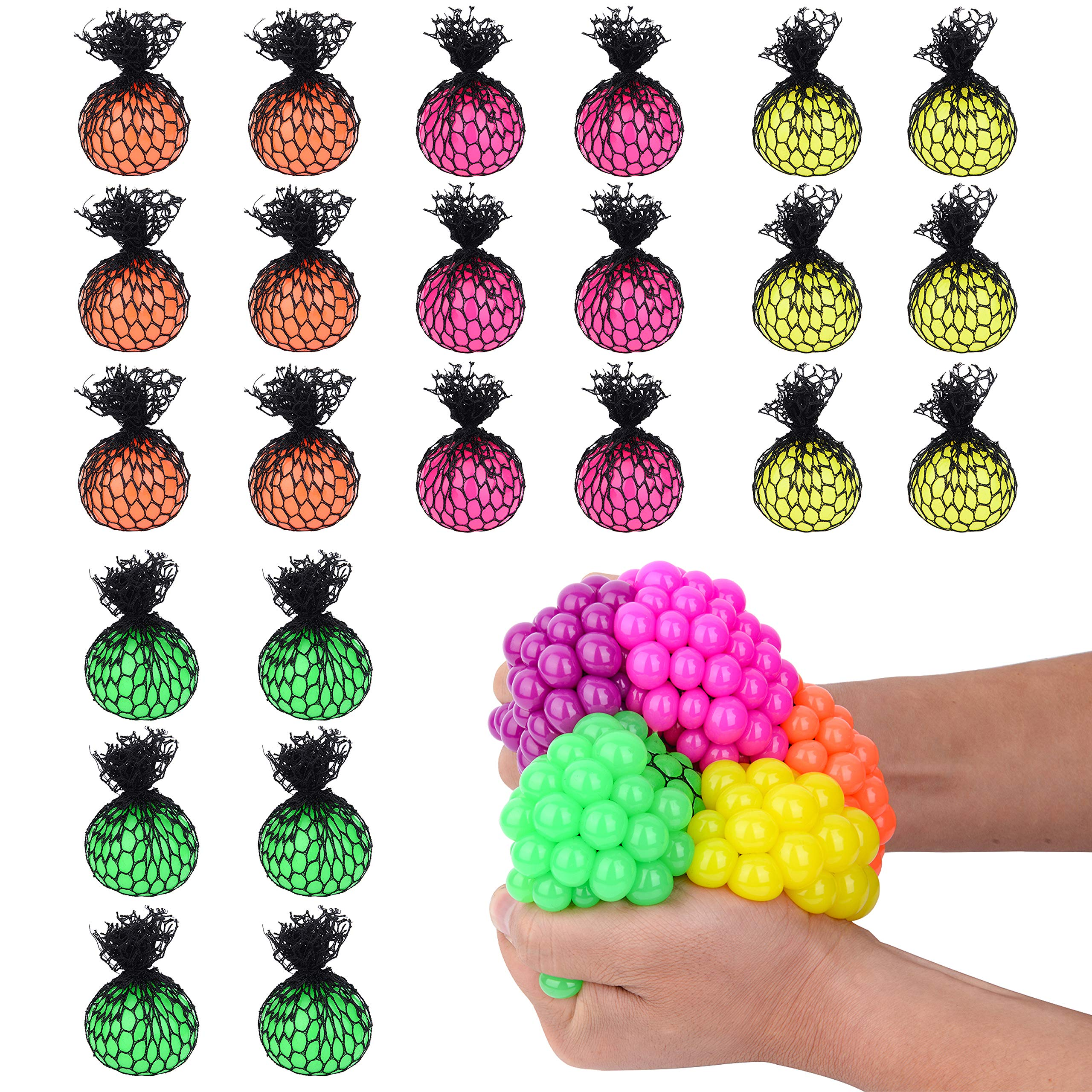 Totem World 24 Colorful Sewn Mesh Stress Balls - 2.4'' Squishy Fidget Toy Perfect for Kids and Adults Materials for Lasting Use - Squeeze Balls for Anxiety and Concentration - Great Party Favors