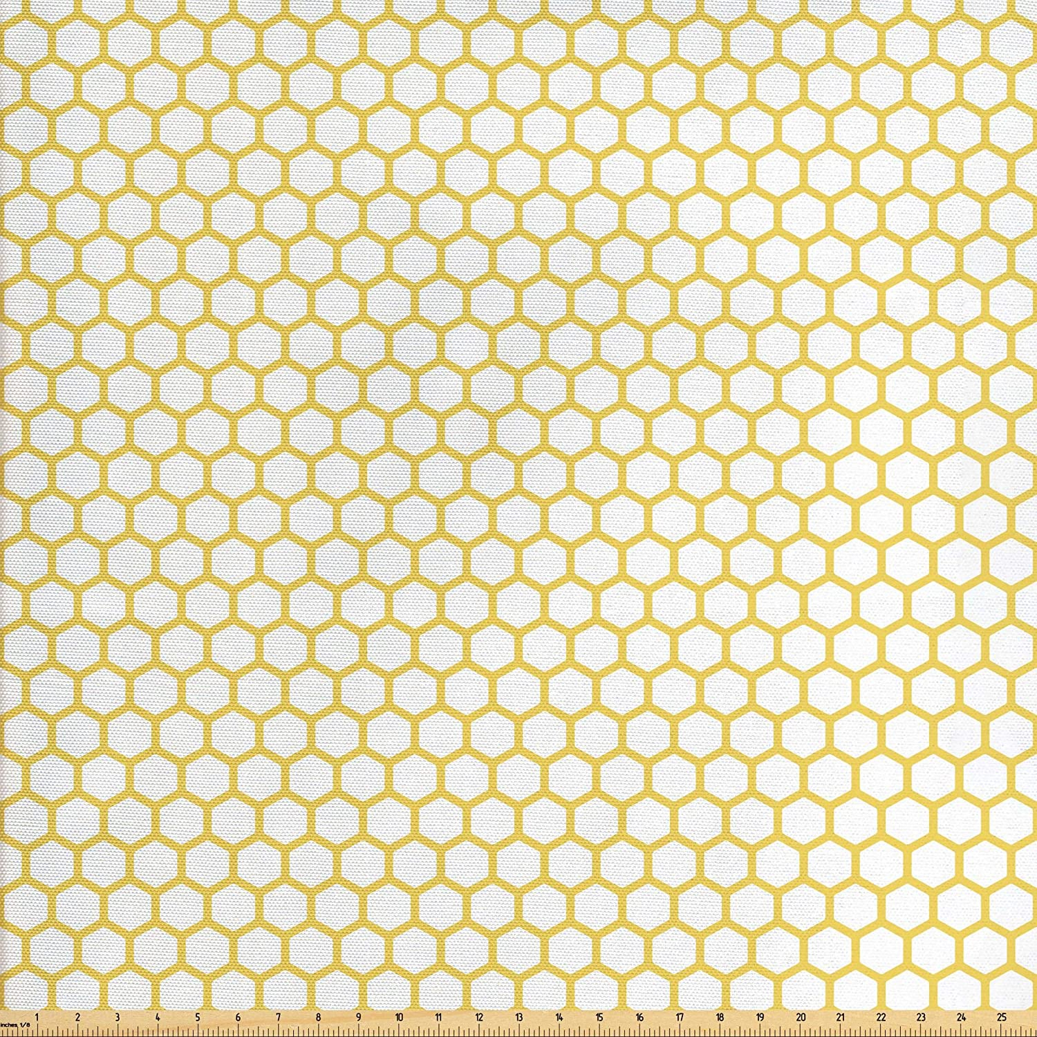 Ambesonne Yellow White Fabric The Yard, Hexagonal Pattern Honeycomb Beehive  Simplistic Geometrical Monochrome, Decorative Fabric Upholstery Home