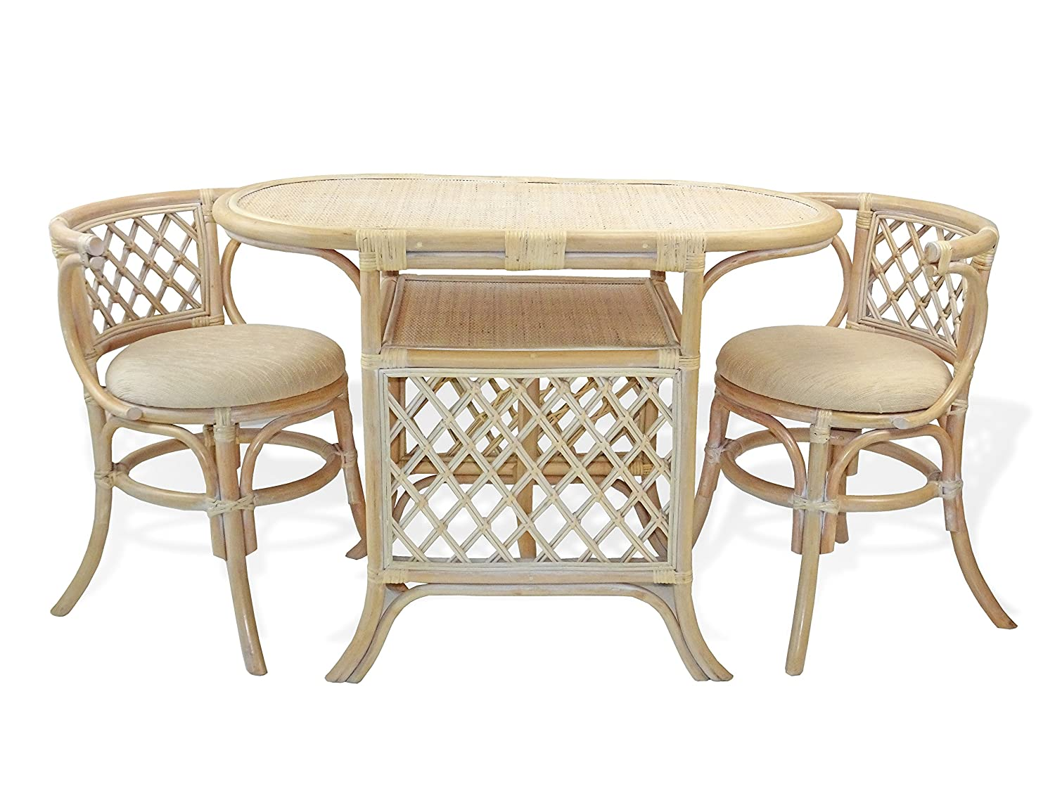 Amazon.com - Borneo Compact Dining SET Table with Wicker Top +2 ...