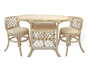 Amazon.com - Borneo Compact Dining SET Table+2 Chairs White Wash ...