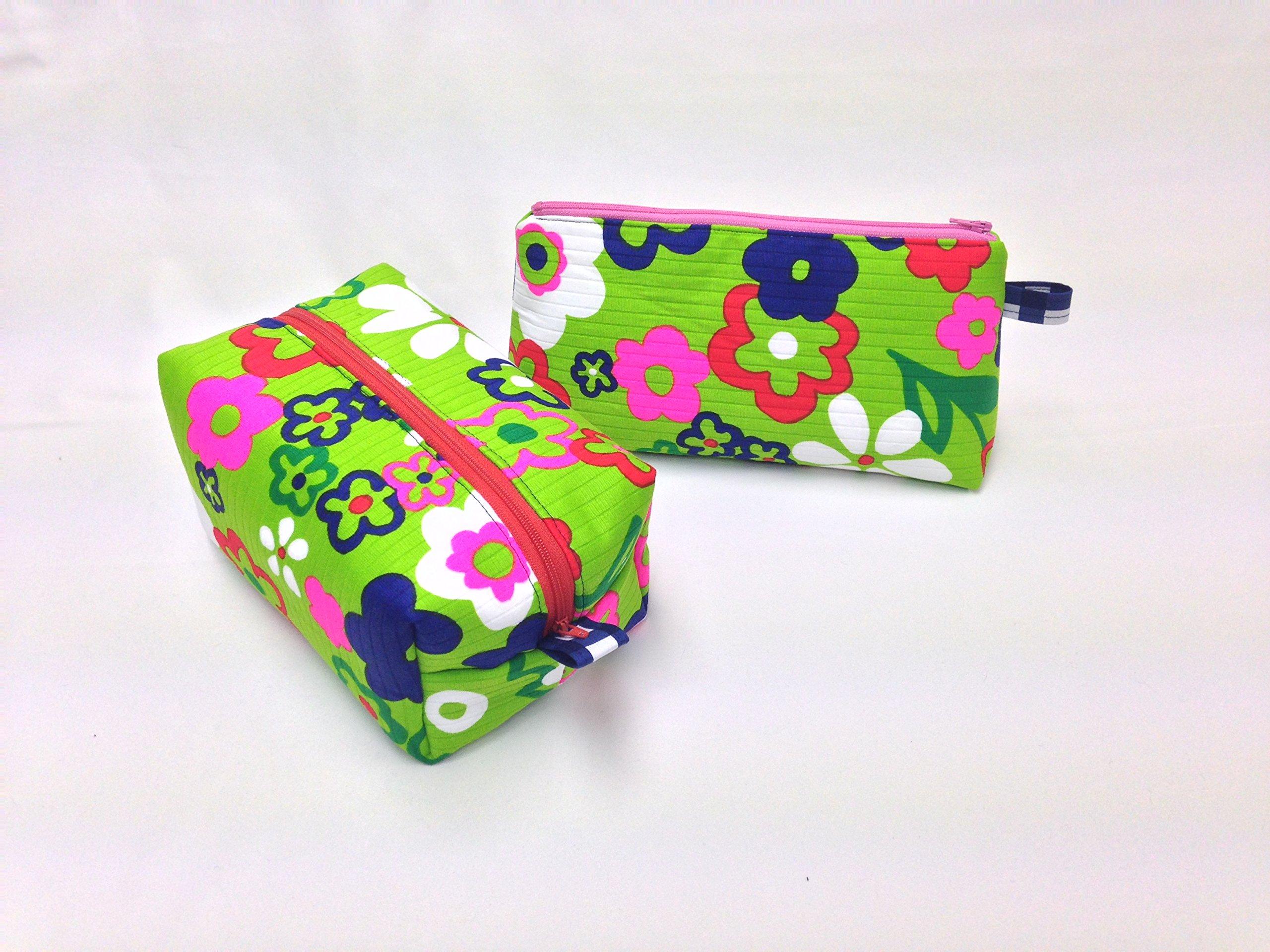 Green Flower Power Toiletry/Makeup Bag Set