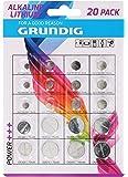 Grundig 85572 - Pack de pilas de botón, 20 unidades, color blanco y azul