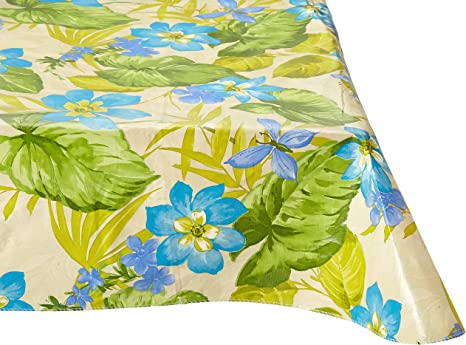 Amazon Com Flannel Backed Vinyl Tablecloths By Elrene Tropical Blue Flowers Assorted Sizes Square Oblong Round 52 X 70 Oblong Home Kitchen