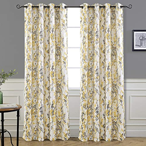 DriftAway Leah Abstract Floral Blossom Ink Painting Room Darkening Thermal Insulated Grommet Unlined Window Curtains 2 Panels Each Size 52 Inch by 96 Inch Yellow Silver Gray