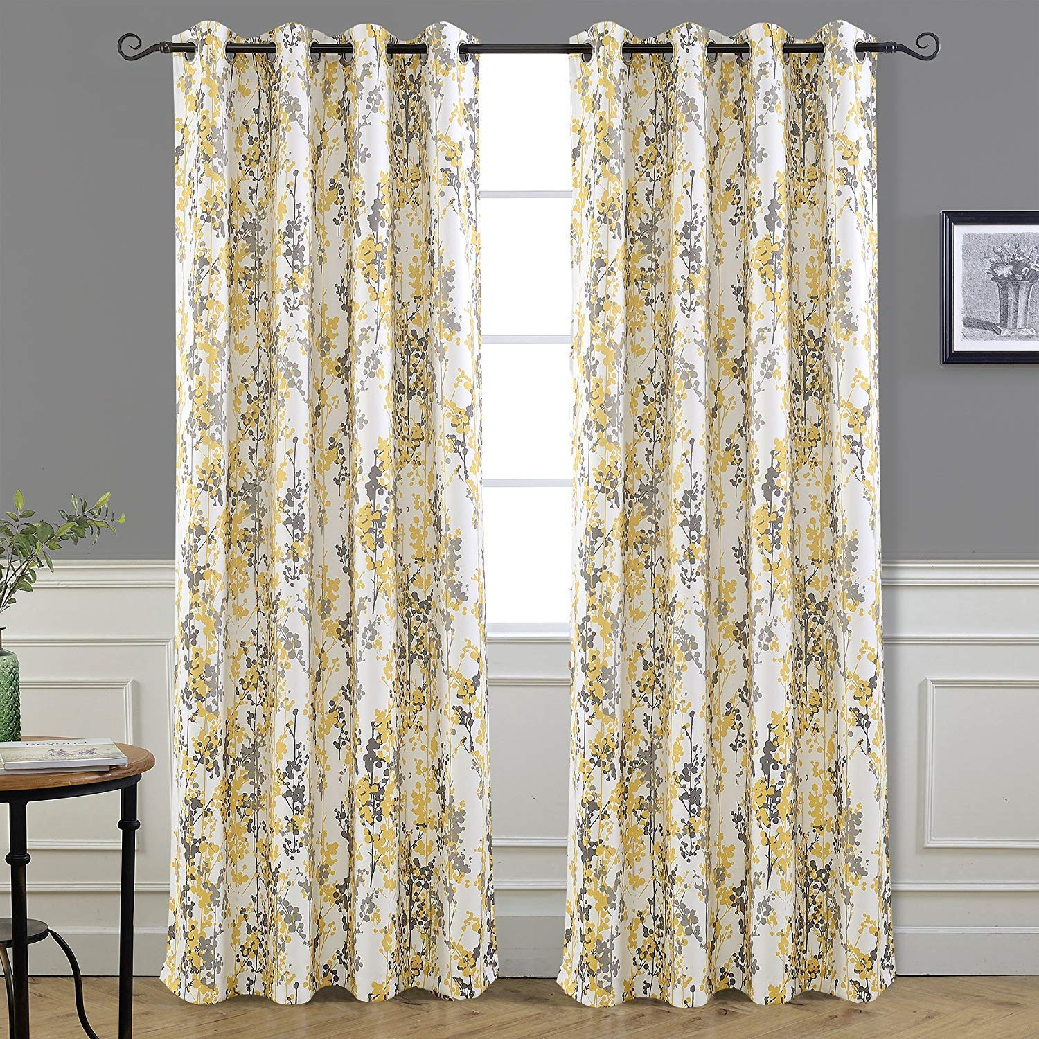 """DriftAway Leah Abstract Floral Blossom Ink Painting Room Darkening/Thermal Insulated Grommet Unlined Window Curtains, Set of Two Panels, Each Size 52""""x84"""" (Yellow/Silver/Gray)"""