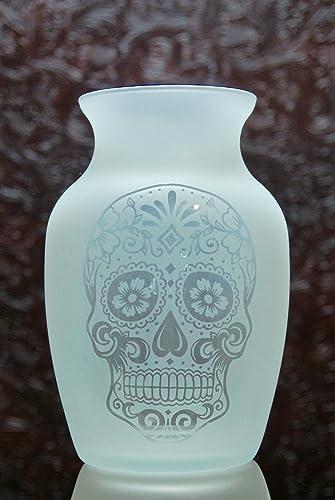 Amazon 75 Inch Glass Etched Sugar Skull Vase Design 1 Handmade