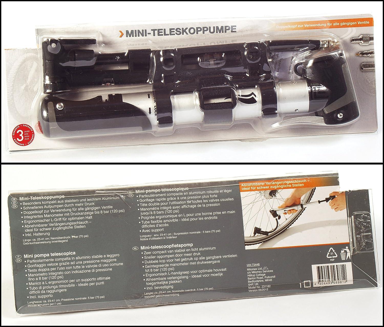 Mini-bomba telescópica, bomba de aire para bicicleta, aprox 23 cm, carcasa de aluminio, manómetro integrado, indicador de presión hasta el bar o 120 PSI, {8} doble cabezal: Amazon.es: Deportes y aire libre