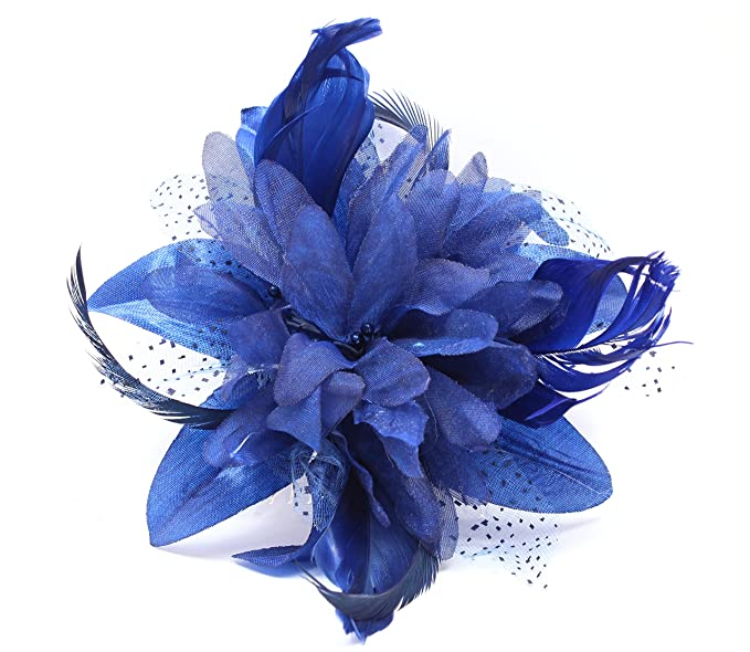 Tocado de flores y plumas Fascinator de Juelz, se ajusta con peine transparente, 9
