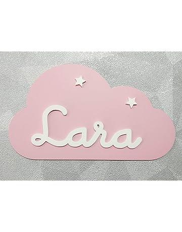 Placa decorativa infantil de madera en forma de nube personalizada con el nombre para niño y