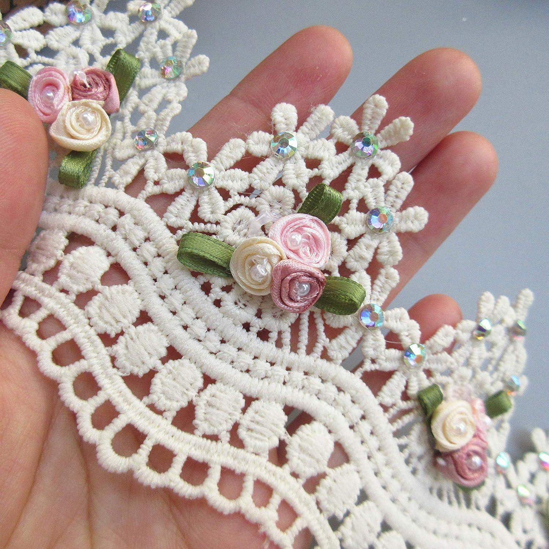 Qiuda Lot de 10 Rubans en Dentelle avec Strass de Diamant 7 cm de Largeur Style Vintage Bordure Tissu brodé Applique Couture Craft Mariage Robe DIY, Rose, 7cm/ 2-3/4 inches