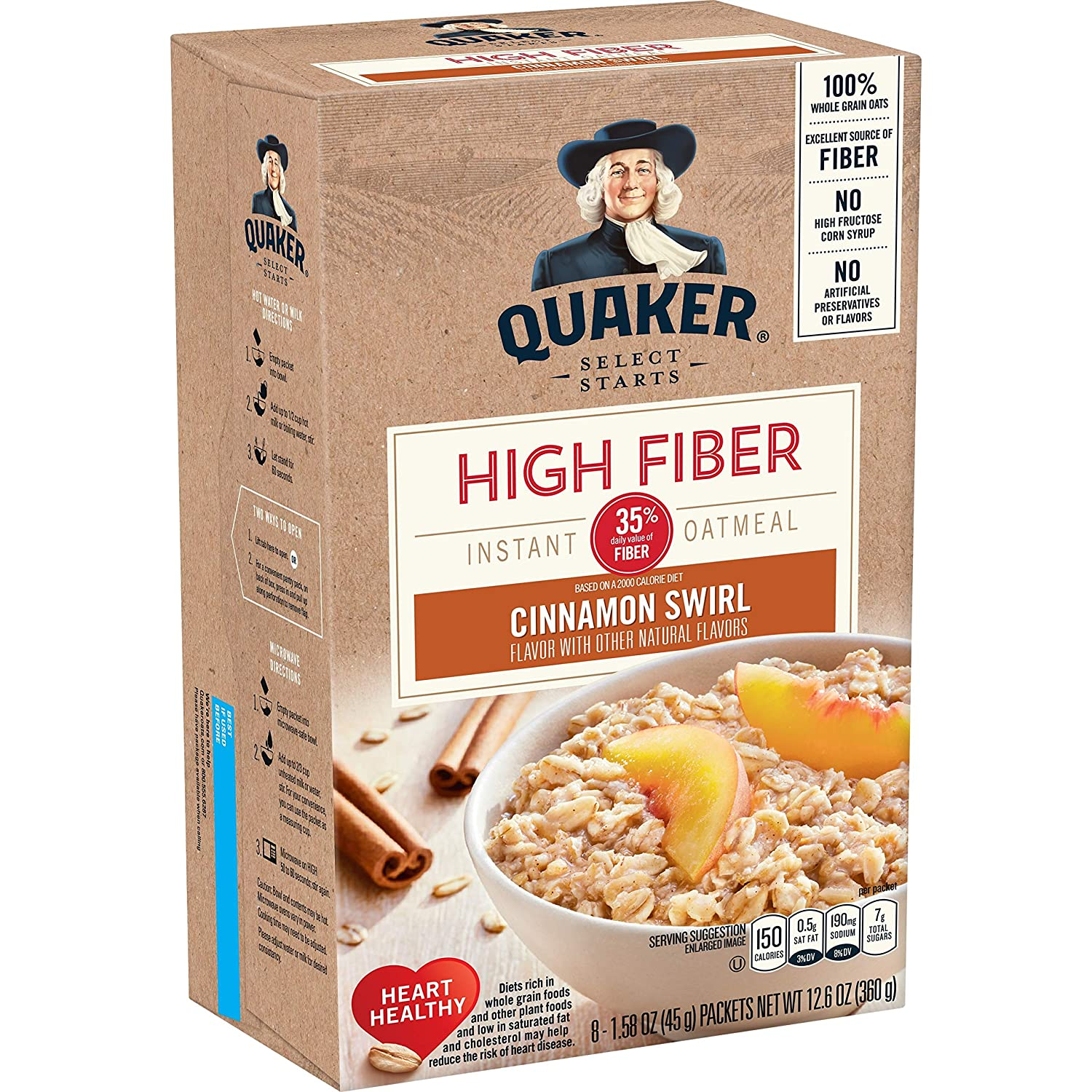 Quaker Instant Oatmeal, High Fiber, Cinnamon Swirl, Breakfast Cereal, 8 -1.58 oz Packets Per Box (Pack of 4)