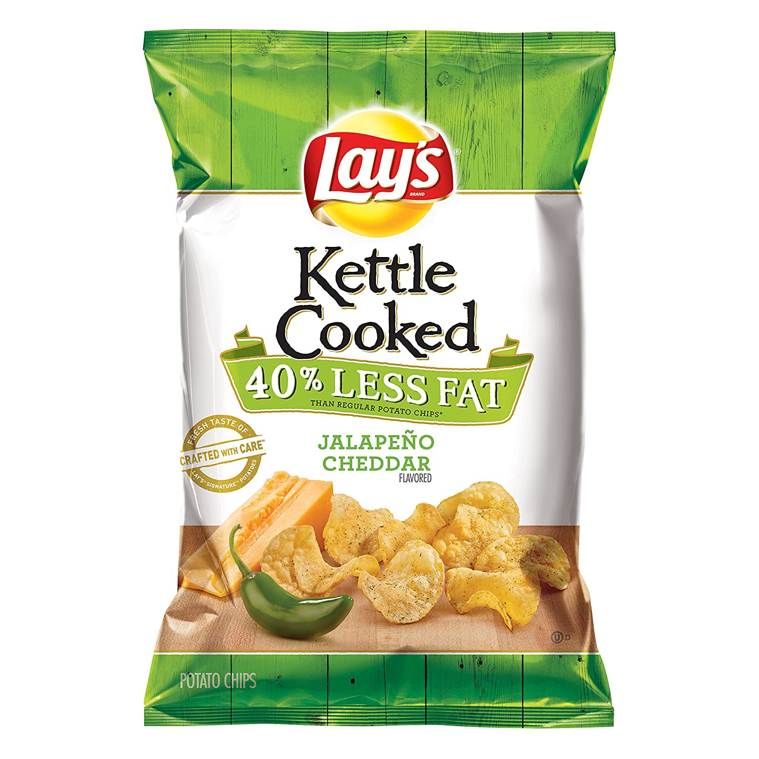 Amazoncom Lays Kettle Cooked 40 Less Fat Jalapeño Cheddar