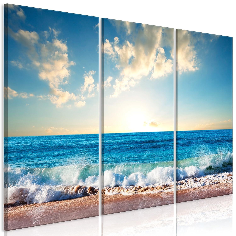 decomonkey Akustikbild Strand Meer 120x80 cm 3 Teilig Bilder Leinwandbilder Wandbilder XXL Schallschlucker Schallschutz Akustikdämmung Wandbild Deko leise blau Sonne Himmel