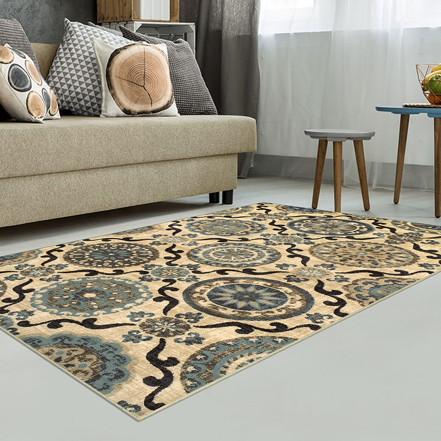 2/'7 x 8/' Runner 27 x 8 Runner 10mm Pile Height with Jute Backing Cream with Blue and Beige Beautiful Scrolling Medallion Pattern Fashionable and Affordable Rugs Superior Abner Collection Area Rug Beautiful Scrolling Medallion Pattern