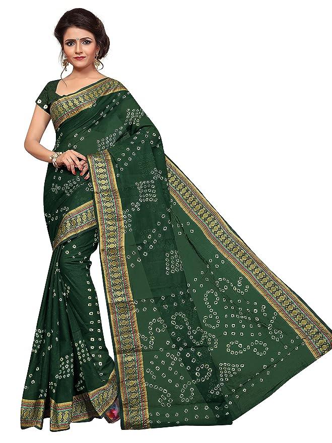 7788169381c Drashti villa Women s Cotton Bandhni Saree With Blouse Piece (Green  Bandhani Free Size)  Amazon.in  Clothing   Accessories