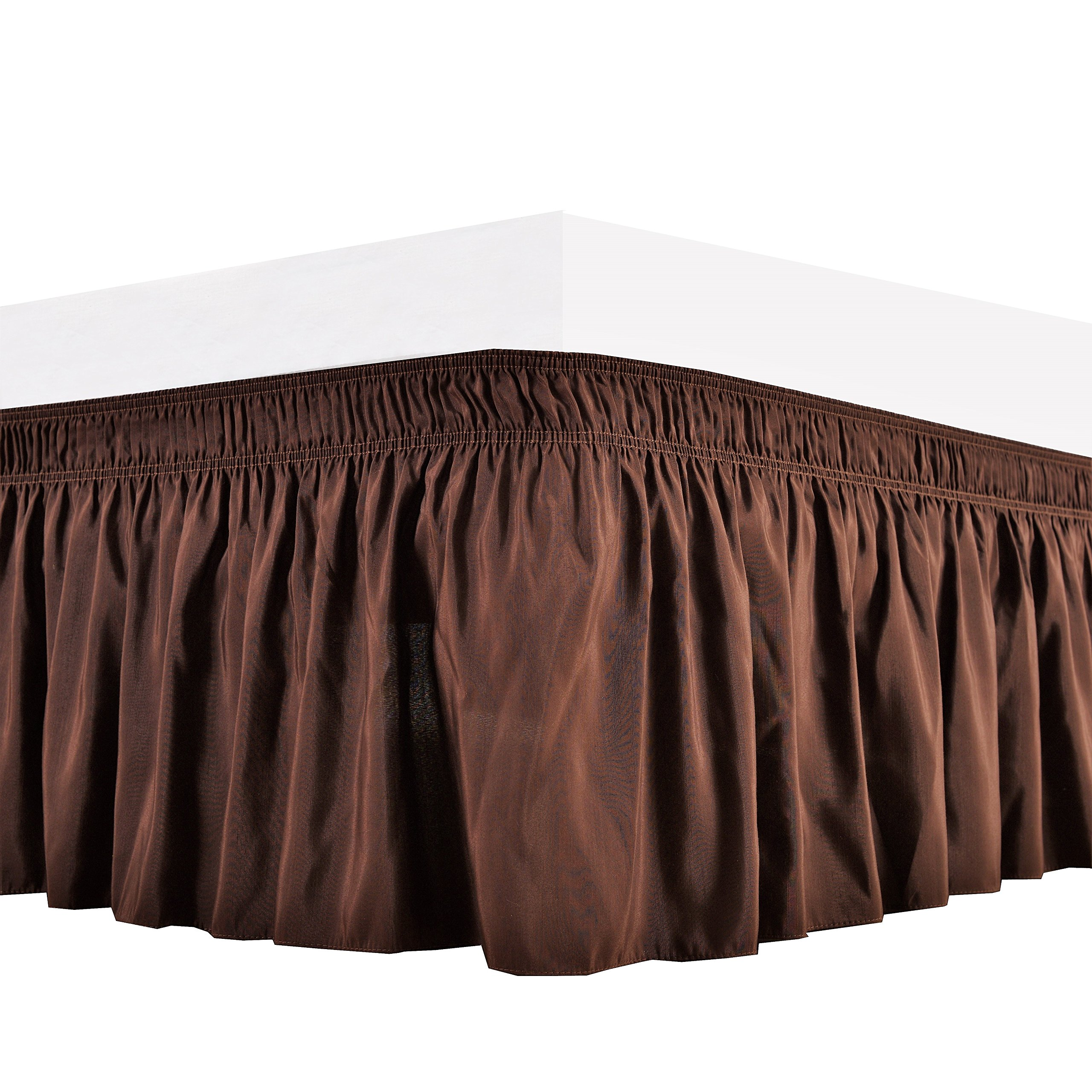 Biscaynebay Wrap Around Bed Skirt Elastic Dust Ruffle, Easy Fit,Wrinkle and Fade Resistant Durable Fabric, Chocolate, King Size,
