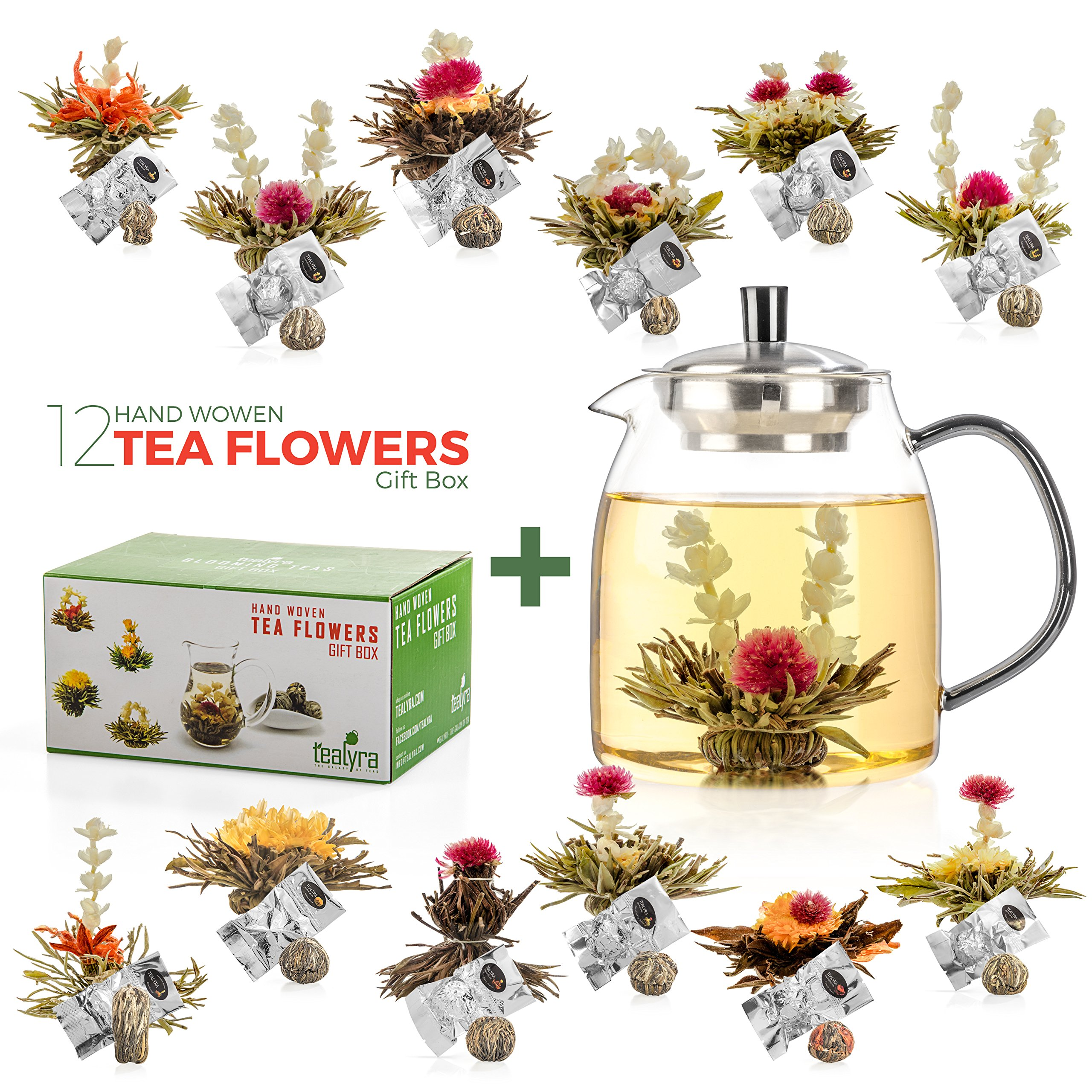 CDM product Tealyra - 12 pcs Blooming Tea and 800ml Glass Teapot Set - 12 Variety Flavors of Finest Flowering Teas - All Tea Balls Individually Sealed - Great Gift Bloom Teas Box big image
