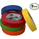 """Colored Masking Tape Set Features 90' of 1"""" Wide Craft Tape for Kids and Adults (5 Pack) (Primary, Five Rolls)"""