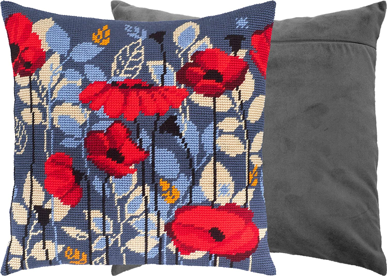 Poppies in The Evening Printed Tapestry Canvas Throw Pillow 16/×16 Inches Needlepoint Kit with Backing European Quality