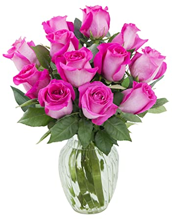 Amazon kabloom sweet pink bouquet of 12 fresh cut pink roses kabloom sweet pink bouquet of 12 fresh cut pink roses long stemmed with vase mightylinksfo