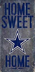 """Fan Creations - Dallas Cowboys Wood Sign - Home Sweet Home 6""""x12"""""""